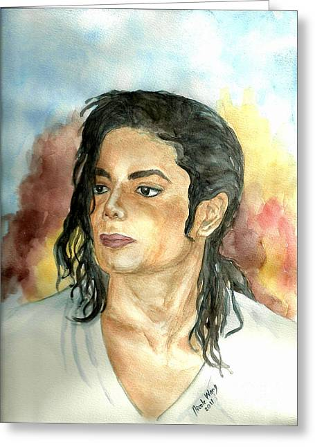 Mj Greeting Cards - Michael Jackson Black or White Greeting Card by Nicole Wang