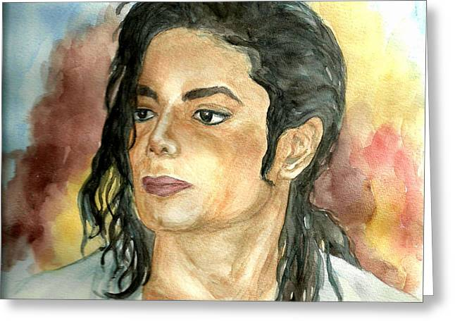 Michael Jackson Black or White Greeting Card by Nicole Wang