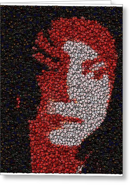Mj Greeting Cards - Michael Jackson Bottle Cap Mosaic Greeting Card by Paul Van Scott