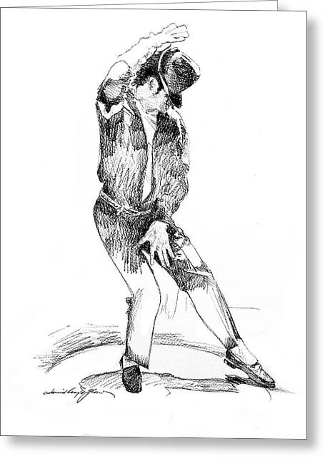 Legend Drawings Greeting Cards - Michael Jackson Dancer Greeting Card by David Lloyd Glover