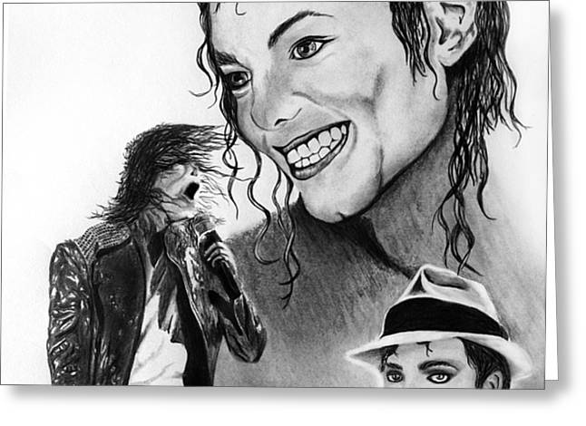 Michael Jackson Faces to Remember Greeting Card by Peter Piatt