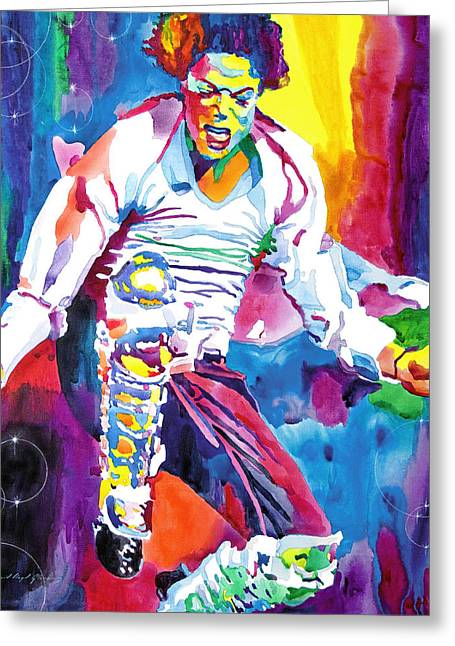 Michael Jackson Greeting Cards - Michael Jackson Fire  Greeting Card by David Lloyd Glover