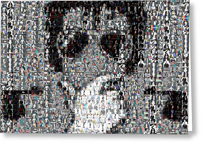 Mosaic Mixed Media Greeting Cards - Michael Jackson Glove Montage Greeting Card by Paul Van Scott