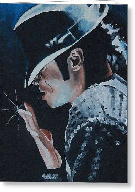 Celebrity Prints Greeting Cards - Michael Jackson Greeting Card by Mikayla Henderson