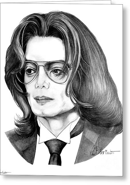 Michael Drawing Drawings Greeting Cards - Michael Jackson Greeting Card by Murphy Elliott