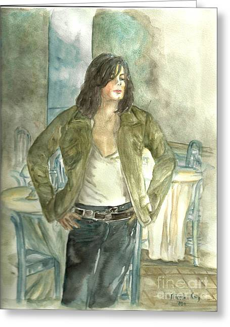 Michael Jackson One More Chance Screenshot Greeting Card by Nicole Wang