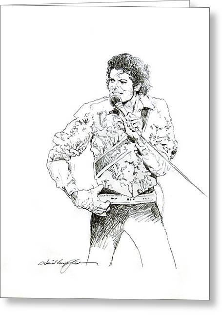 Gloves Drawings Greeting Cards - Michael Jackson Royalty Greeting Card by David Lloyd Glover