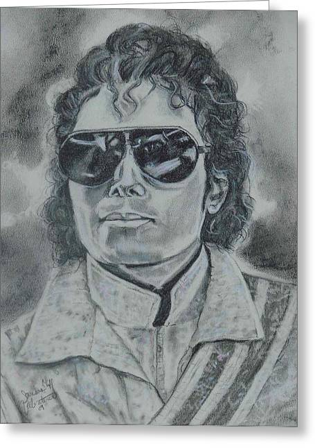 Famous African Americans Drawings Greeting Cards - Michael Jackson Greeting Card by Sandra Valentini