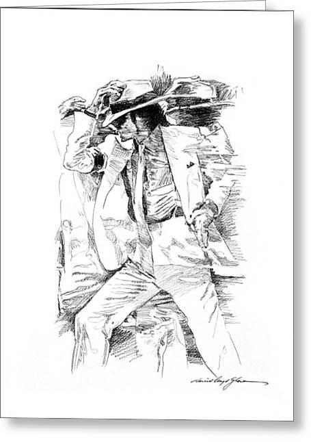 Michael Drawings Greeting Cards - Michael Jackson Smooth Criminal Greeting Card by David Lloyd Glover