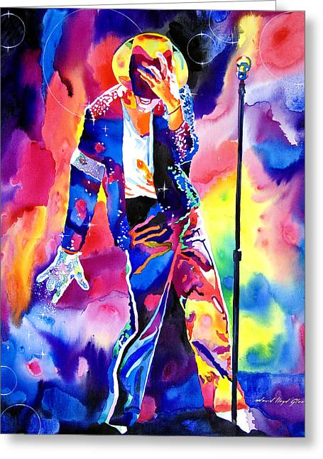 Legend Greeting Cards - Michael Jackson Sparkle Greeting Card by David Lloyd Glover