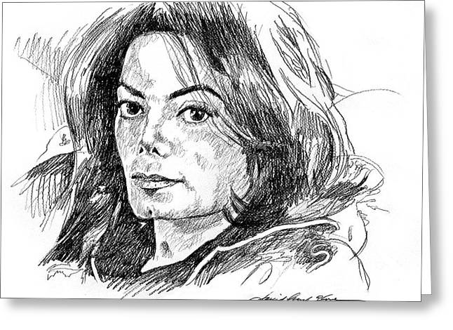 Michael Drawing Drawings Greeting Cards - Michael Jackson Thoughts Greeting Card by David Lloyd Glover