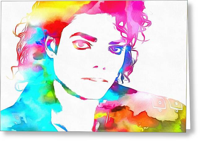 Beat It Greeting Cards - Michael Jackson Watercolor Greeting Card by Dan Sproul