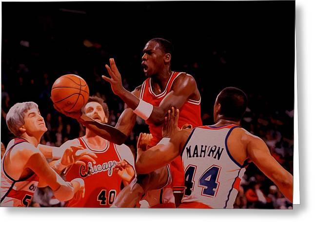 Michael Jordan 1984 Rookie Year Greeting Card by Brian Reaves