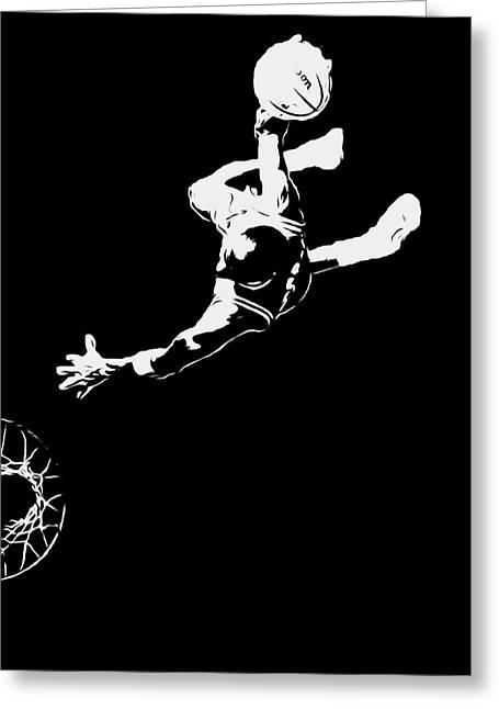 Michael Jordan Above The Rim 1 Greeting Card by Brian Reaves