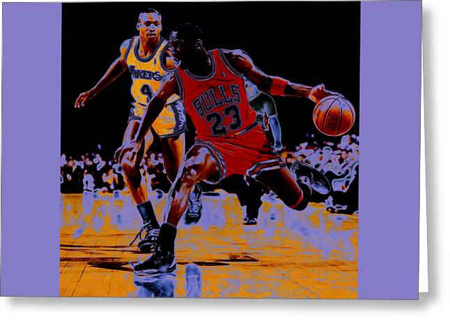 Michael Jordan And Byron Scott Greeting Card by Brian Reaves
