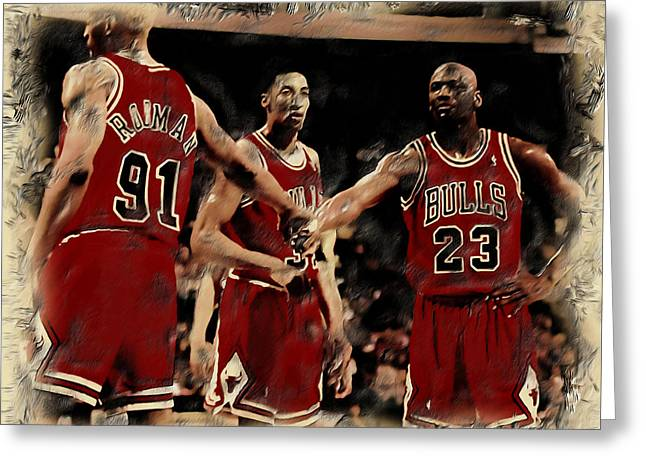 Nike Greeting Cards - Michael Jordan and Crew Greeting Card by Brian Reaves