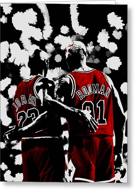 Michael Jordan And Dennis Rodman Last Stand Greeting Card by Brian Reaves