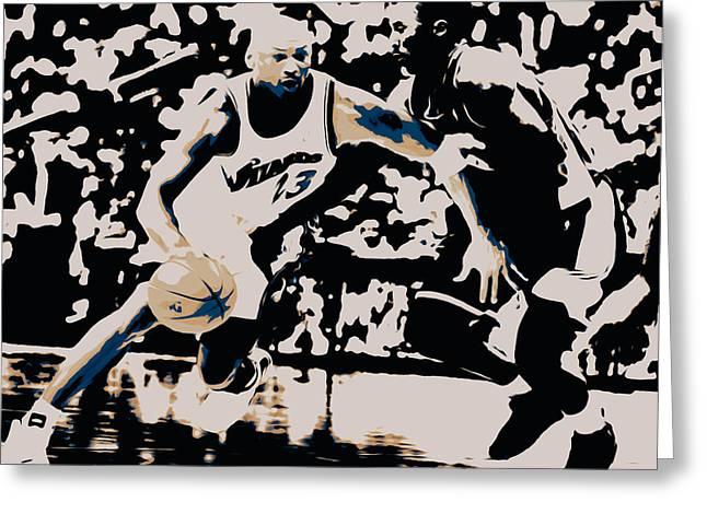 Kobe Mixed Media Greeting Cards - Michael Jordan and Kobe 3c Greeting Card by Brian Reaves