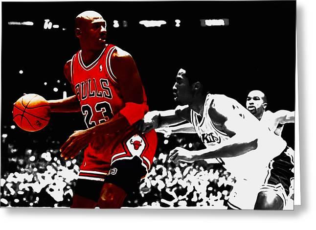 Kobe Mixed Media Greeting Cards - Michael Jordan and Kobe Bryant Greeting Card by Brian Reaves