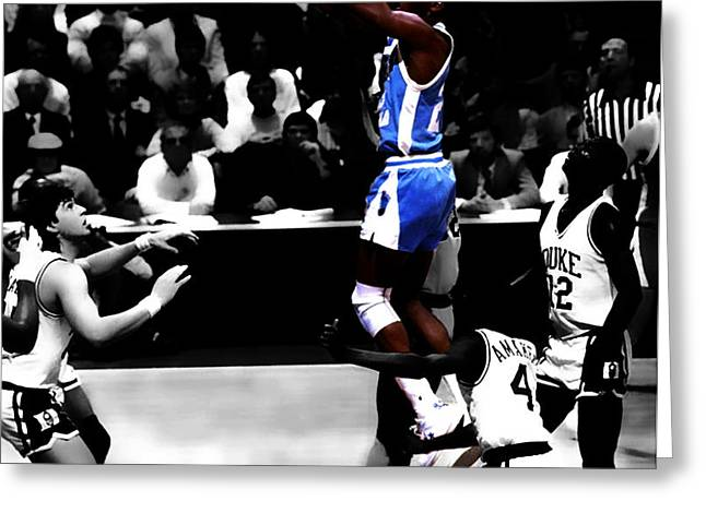 James Worthy Greeting Cards - UNC Tarheel Michael Jordan  Greeting Card by Brian Reaves