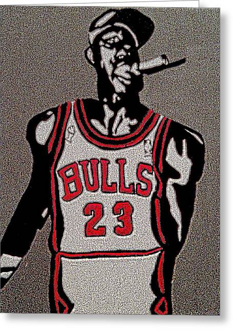 Chicago Bulls Art Drawings Greeting Cards - Michael Jordan BULLS Greeting Card by Breanna Lewis