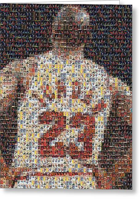 Rare Mixed Media Greeting Cards - Michael Jordan Card Mosaic 2 Greeting Card by Paul Van Scott