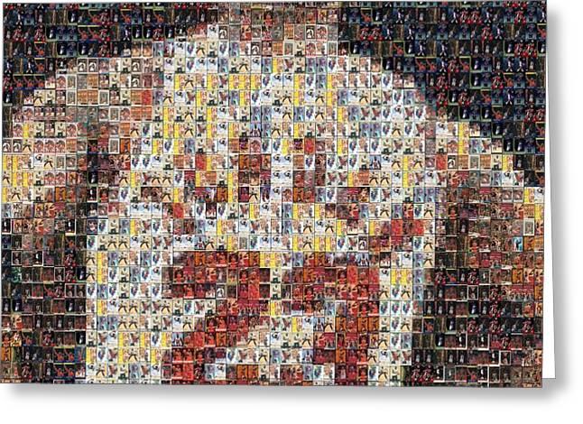 Michael Jordan Card Mosaic 2 Greeting Card by Paul Van Scott
