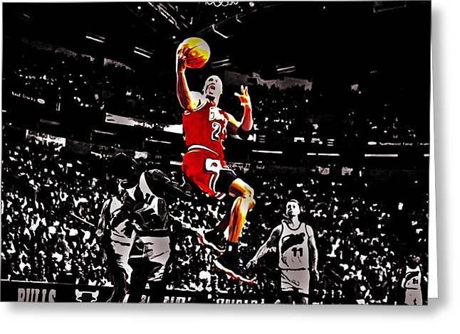 Nike Greeting Cards - Michael Jordan Caught Them Looking Greeting Card by Brian Reaves