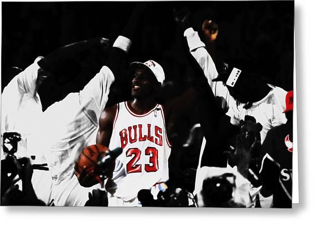 Michael Jordan Champs Again Greeting Card by Brian Reaves