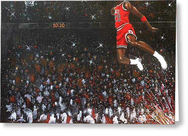 Michael Jordan Greeting Cards - Michael Jordan Custom Painting Greeting Card by Roly Orihuela