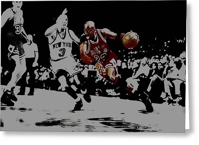 Pippen Mixed Media Greeting Cards - Michael Jordan Drive to the Basket Greeting Card by Brian Reaves