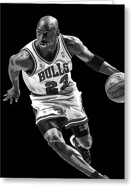 Michael Jordan Greeting Cards - MICHAEL JORDAN DRIVES to the BASKET Greeting Card by Daniel Hagerman