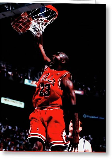 Michael Jordan Game Point Greeting Card by Brian Reaves