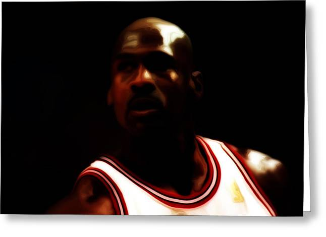 Pippen Mixed Media Greeting Cards - Michael Jordan Game Time Greeting Card by Brian Reaves