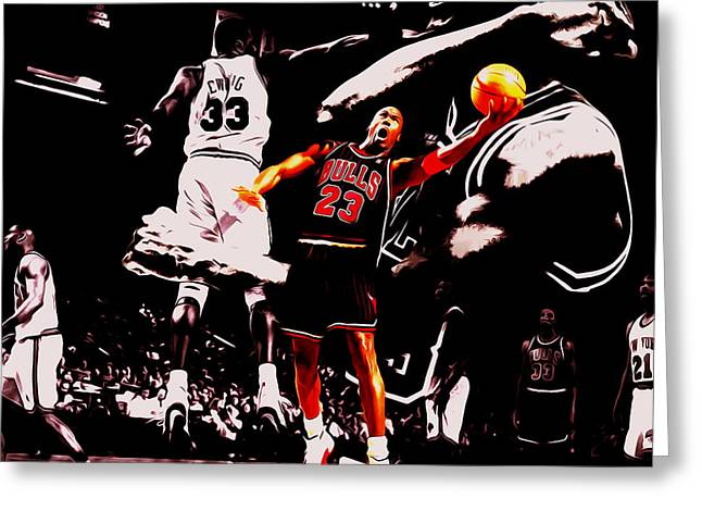 Michael Jordan Going Left Hand Greeting Card by Brian Reaves