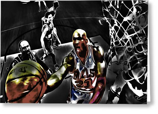 Pippen Mixed Media Greeting Cards - Michael Jordan Got Em Looking Greeting Card by Brian Reaves