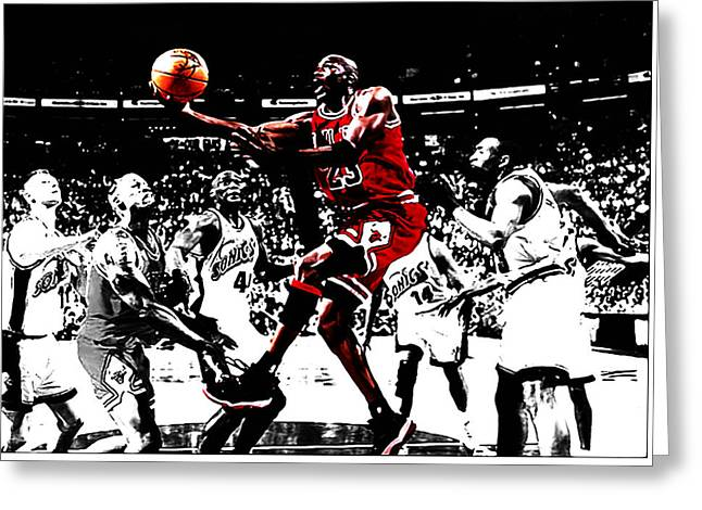 Shawn Kemp Greeting Cards - Michael Jordan Caught em Looking Greeting Card by Brian Reaves