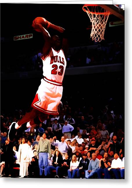 Michael Jordan Greeting Cards - Michael Jordan in Flight 7c Greeting Card by Brian Reaves