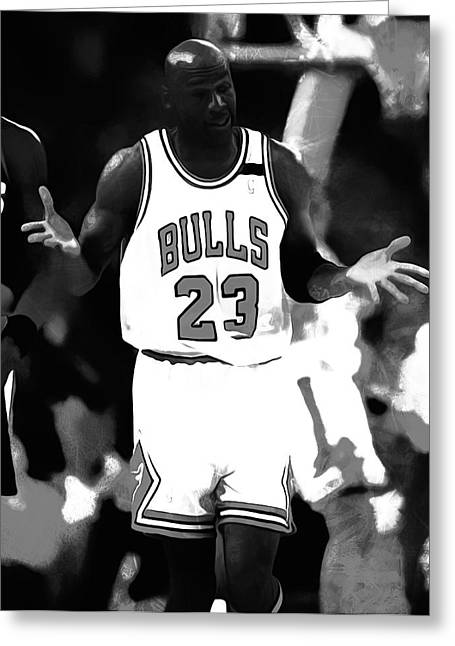 Ewing Digital Greeting Cards - Michael Jordan It Must Be The Shoes Greeting Card by Brian Reaves