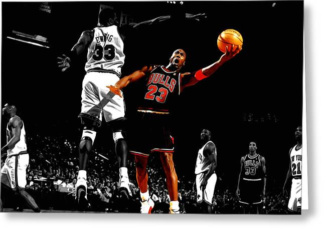 Jordan Mixed Media Greeting Cards - Michael Jordan Left Hand Greeting Card by Brian Reaves