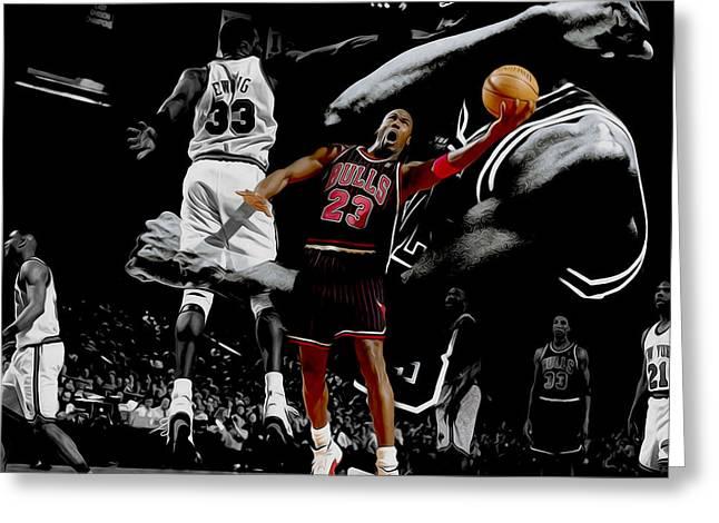 Nike Greeting Cards - Michael Jordan Left Hand II Greeting Card by Brian Reaves