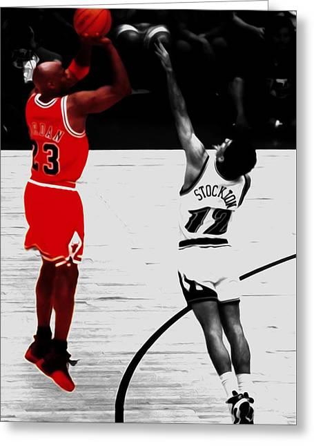Michael Jordan Over John Stockton Greeting Card by Brian Reaves