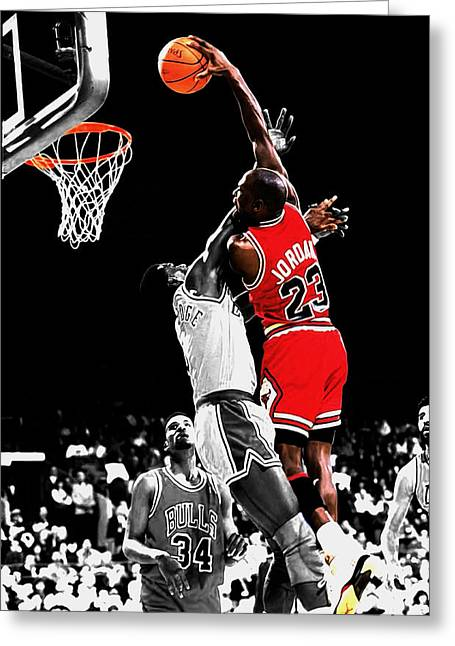 Michael Jordan Power Slam Greeting Card by Brian Reaves