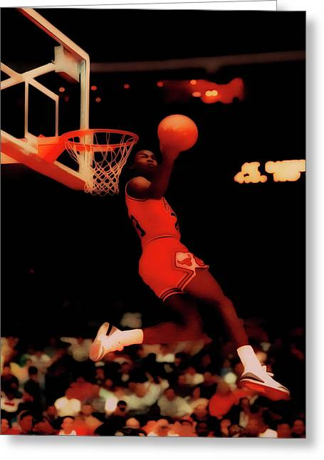 Michael Jordan Reverse Dunk Greeting Card by Brian Reaves