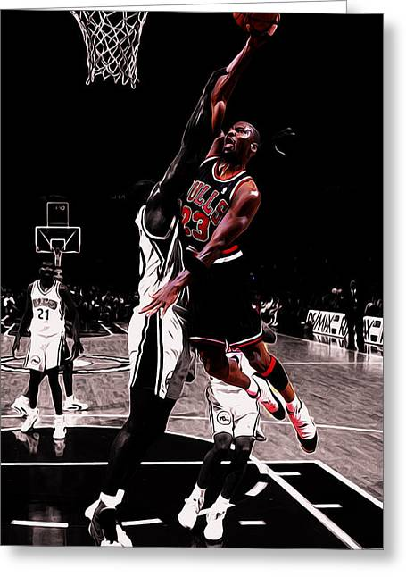Michael Jordan Rises 1a Greeting Card by Brian Reaves