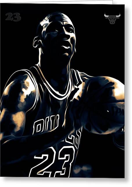 Michael Jordan Stay Focused Greeting Card by Brian Reaves