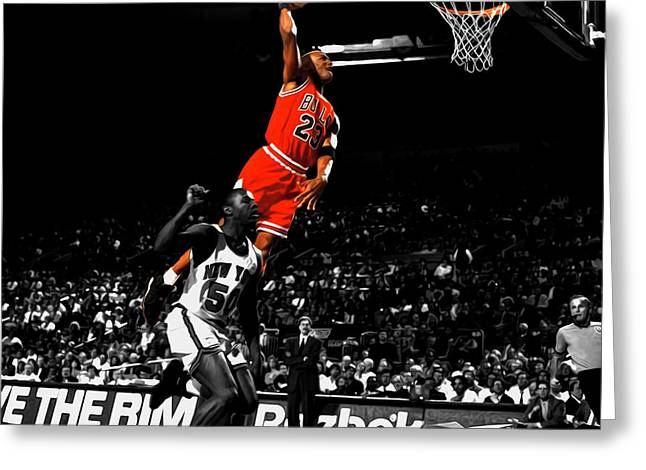 Michael Jordan Suspended In Air Greeting Card by Brian Reaves