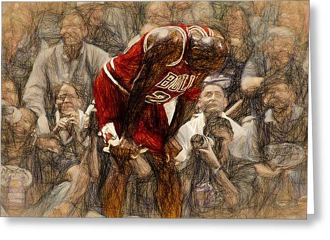 Nike Greeting Cards - Michael Jordan The Flu Game Greeting Card by John Farr