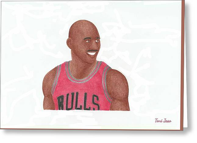 Slam Drawings Greeting Cards - Michael Jordan Greeting Card by Toni Jaso