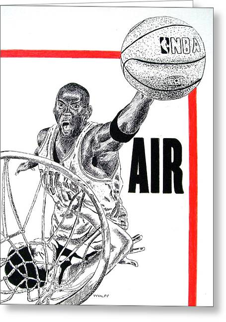 Chicago Bulls Drawings Greeting Cards - Michael Jordan Greeting Card by Vincent Wolff